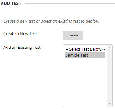 Select an existing test or create a new test